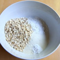 Combine flour, protein powder, oats and baking soda