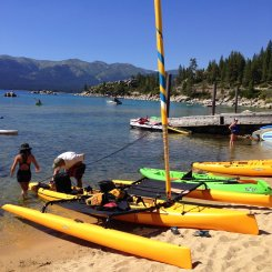 Kayak sailing Lake Tahoe