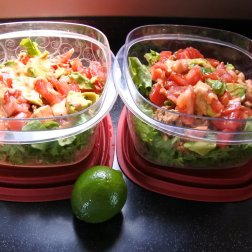 layer salad in individual containers