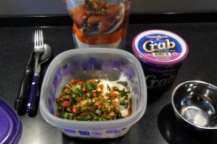Prepped most of the filling at home, placed in tupperware